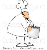 Cuisine Clipart of a Cook Moving a Big Aluminum Metal Cooking Pot by Djart
