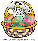 Cuisine Clipart of a Cook's Hat Mascot Cartoon Character in an Easter Basket Full of Decorated Easter Eggs by Toons4Biz