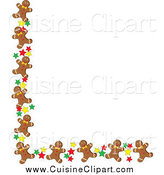 Cuisine Clipart of a Corner Border of Gingerbread Men Cookies and Stars by Pams Clipart