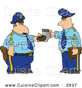 Cuisine Clipart of a Couple of Policemen Toasting Donut and Coffee Cup Together on White by Djart