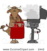 Cuisine Clipart of a Cow Cooking BBQ on an Smoky Outdoor Propane Grill by Djart