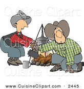 Cuisine Clipart of a Cowboy and Cowgirl Standing and Kneeling Beside a Campfire by Djart