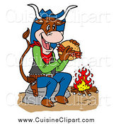Cuisine Clipart of a Cowboy Cow Eating a Pulled Pork Sandwich by a Fire by LaffToon