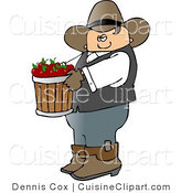 Cuisine Clipart of a Cowboy Farmer Carrying a Wood Bucket of Freshly Picked Red Apples by Djart