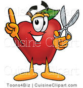 Cuisine Clipart of a Crafty Red Apple Character Mascot Holding a Pair of Scissors by Toons4Biz