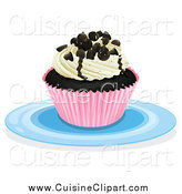 Cuisine Clipart of a Cupcake on a Plate by Graphics RF