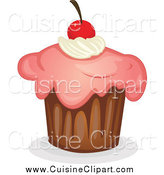 Cuisine Clipart of a Cupcake with Pink Frosting and Topped with a Cherry by Graphics RF