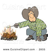 Cuisine Clipart of a Curious Cowboy Man Roasting a Marshmallow over a Campfire by Djart