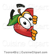 Cuisine Clipart of a Curious Red Apple Character Mascot Peeking Around a Corner and Spying on Someone by Toons4Biz