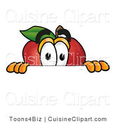 Cuisine Clipart of a Curious Red Apple Character Mascot Peeking over a White Horizontal Surface by Toons4Biz