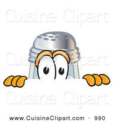 Cuisine Clipart of a Curious Salt Shaker Mascot Cartoon Character Peeking over a Surface by Toons4Biz