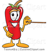 Cuisine Clipart of a Cute Chili Pepper Mascot Cartoon Character Holding a Pointer Stick by Toons4Biz