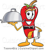 Cuisine Clipart of a Cute Chili Pepper Mascot Cartoon Character Holding a Serving Platter by Toons4Biz