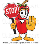 Cuisine Clipart of a Cute Chili Pepper Mascot Cartoon Character Holding a Stop SignCute Chili Pepper Mascot Cartoon Character Holding a Stop Sign by Toons4Biz