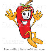 Cuisine Clipart of a Cute Chili Pepper Mascot Cartoon Character Jumping by Toons4Biz