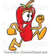 Cuisine Clipart of a Cute Chili Pepper Mascot Cartoon Character Running by Toons4Biz