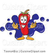 Cuisine Clipart of a Cute Chili Pepper Mascot Cartoon Character with a Blue Paint Splatter by Toons4Biz