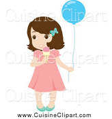 Cuisine Clipart of a Cute Little Brunette White Girl Holding a Balloon and Eating an Ice Cream Cone by Rosie Piter