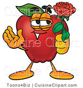 Cuisine Clipart of a Cute Romantic Red Apple Character Mascot Holding a Single Red Rose for His Love on Valentines Day by Toons4Biz