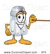 Cuisine Clipart of a Cute Salt Shaker Mascot Cartoon Character Holding a Pointer Stick by Toons4Biz