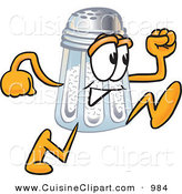 Cuisine Clipart of a Cute Salt Shaker Mascot Cartoon Character Running by Toons4Biz