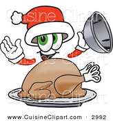 Cuisine Clipart of a Cute Santa Claus Mascot Cartoon Character Serving a Thanksgiving Turkey on a Platter by Toons4Biz