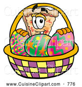Cuisine Clipart of a Cute Slice of Pizza Mascot Cartoon Character in an Easter Basket Full of Decorated Easter Eggs by Toons4Biz