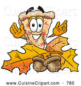 Cuisine Clipart of a Cute Slice of Pizza Mascot Cartoon Character with Autumn Leaves and Acorns in the Fall by Toons4Biz