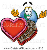 Cuisine Clipart of a Cute World Earth Globe Mascot Cartoon Character with an Open Box of Valentines Day Chocolate Candies by Toons4Biz