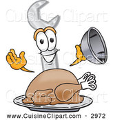 Cuisine Clipart of a Cute Wrench Mascot Cartoon Character Serving a Thanksgiving Turkey on a Platter by Toons4Biz