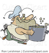 Cuisine Clipart of a Dirty Chubby and Stinky Male Cook Carrying a Pot by Toonaday