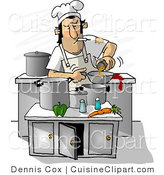Cuisine Clipart of a Dirty Cook Smoking While Cooking in a Kitchen by Djart