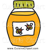 Cuisine Clipart of a Doodled Jar of Honey by Prawny