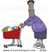 Cuisine Clipart of a Ethnic Man Grocery Shopping at His Local Grocery Store by Djart