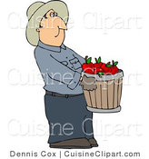 Cuisine Clipart of a Farmer Wearing a Cowboy Hat Carrying a Pale of Freshly Picked Red Apples by Djart
