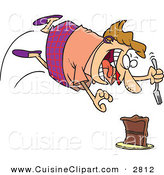 Cuisine Clipart of a Fat Caucasian Woman Diving Towards a Cake with a Fork by Toonaday
