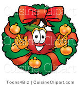 Cuisine Clipart of a Festive and Smiling Red Apple Character Mascot in the Center of a Christmas Wreath by Toons4Biz