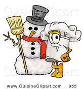 Cuisine Clipart of a Festive Chefs Hat Mascot Cartoon Character with Three Snowflakes in Winter by Toons4Biz