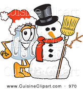 Cuisine Clipart of a Festive Happy Salt Shaker Mascot Cartoon Character with a Snowman on Christmas by Toons4Biz