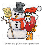 Cuisine Clipart of a Festive Red Apple Character Mascot Leaning on a Snowman on Christmas by Toons4Biz
