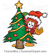 Cuisine Clipart of a Festive Red Apple Character Mascot with a Decorated Pine Christmas Tree by Toons4Biz