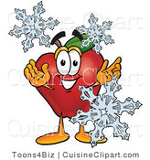 Cuisine Clipart of a Festive Red Apple Character Mascot with Icy Snowflakes in Winter by Toons4Biz