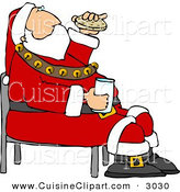 Cuisine Clipart of a Festive Santa Eating Chocolate Chip Cookies and Drinking Milk by Djart