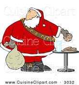 Cuisine Clipart of a Festive Santa Grabbing Chocolate Chip Cookie While Delivering Christmas Presents by Djart