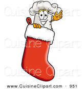Cuisine Clipart of a Festive White Chefs Hat Mascot Cartoon Character Inside a Red Christmas Stocking by Toons4Biz