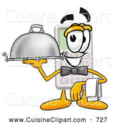 Cuisine Clipart of a Friendly Calculator Mascot Cartoon Character Dressed As a Waiter and Holding a Serving Platter by Toons4Biz