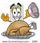 Cuisine Clipart of a Friendly Calculator Mascot Cartoon Character Serving a Thanksgiving Turkey on a Platter by Toons4Biz