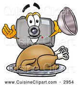 Cuisine Clipart of a Friendly Camera Mascot Cartoon Character Serving a Thanksgiving Turkey on a Platter by Toons4Biz