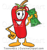 Cuisine Clipart of a Friendly Chili Pepper Mascot Cartoon Character Holding a Dollar Bill by Toons4Biz