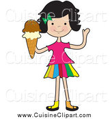 Cuisine Clipart of a Friendly Girl Waving and Holding an Ice Cream Cone by Maria Bell